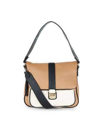 Tan Leather-Look Contrast Foldover Satchel Bag