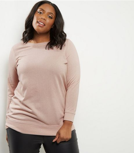 Curves Pink Metallic Sweater | New Look