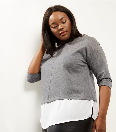 Curves Grey 2 in 1 3/4 Sleeve  | New Look