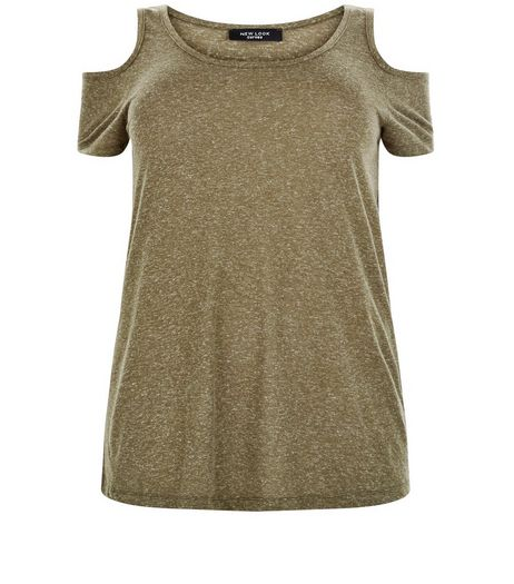 Curves Khaki Cold Shoulder Top  | New Look