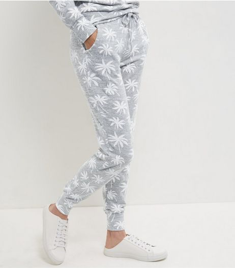 Grey Palm Tree Print Joggers | New Look