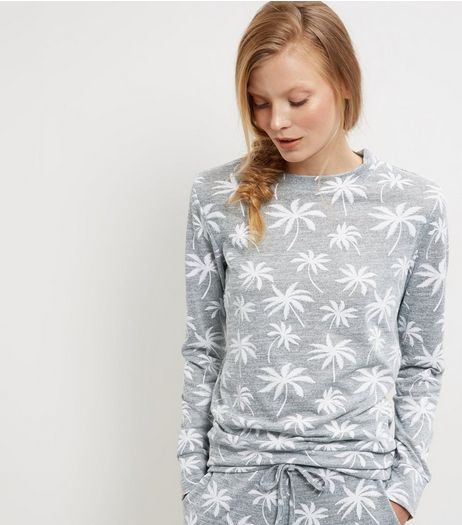 Grey Palm Tree Print Sweater  | New Look