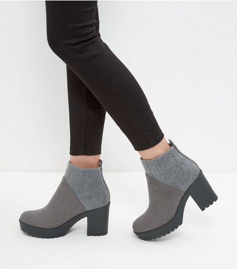 Grey Elastic Back Block Heel Boots  | New Look
