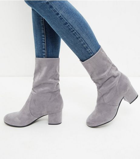 Grey Suedette Ruched Calf Boots | New Look