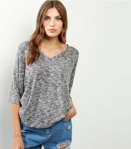 Pale Grey Brushed V Neck Top  | New Look