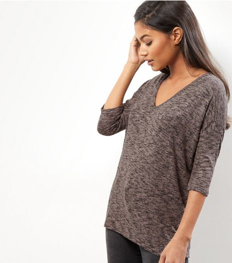 Shell Pink V Neck Brushed Top | New Look
