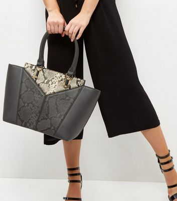 Black Snakeskin Print Panel Tote Bag