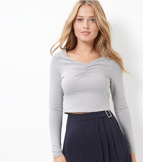 Grey Ruched Front Long Sleeve Crop Top | New Look