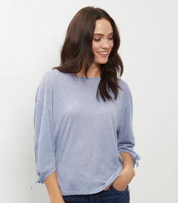 Product photo of Pale blue tie sleeve tshirt