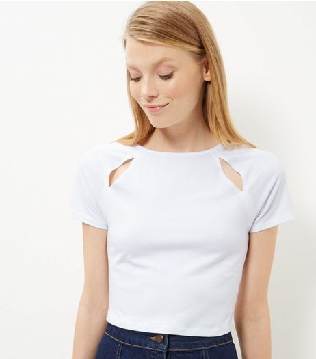 White Cut Out Crop Top  | New Look