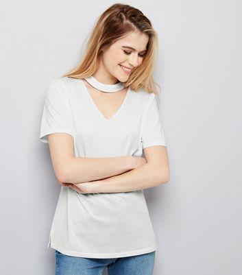 White Choker Neck Oversized T-shirt