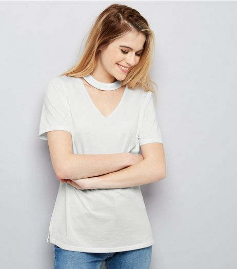 White Choker Neck Oversized T-shirt | New Look
