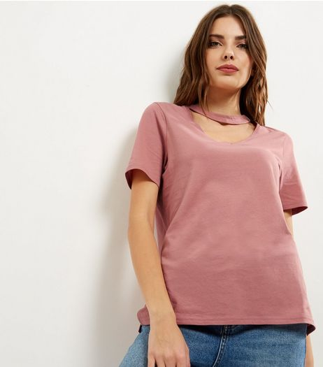Pink Choker Neck Oversized T-shirt | New Look