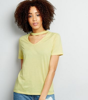 Yellow Choker Neck Oversized T-Shirt