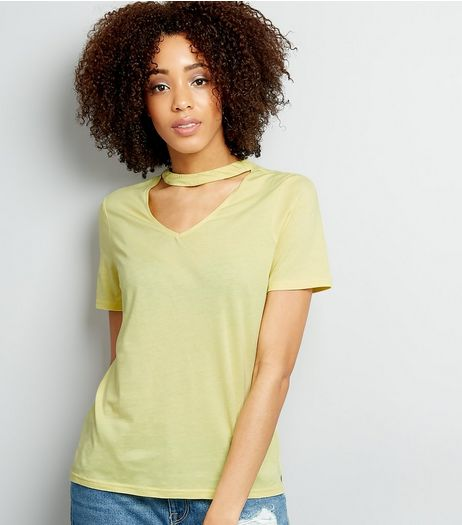Yellow Choker Neck Oversized T-Shirt  | New Look