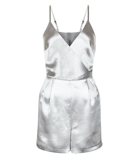 Silver Sateen Wrap Playsuit | New Look