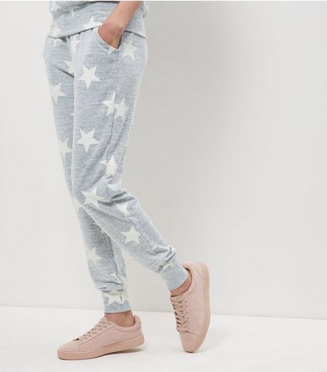 Grey Star Print Joggers | New Look