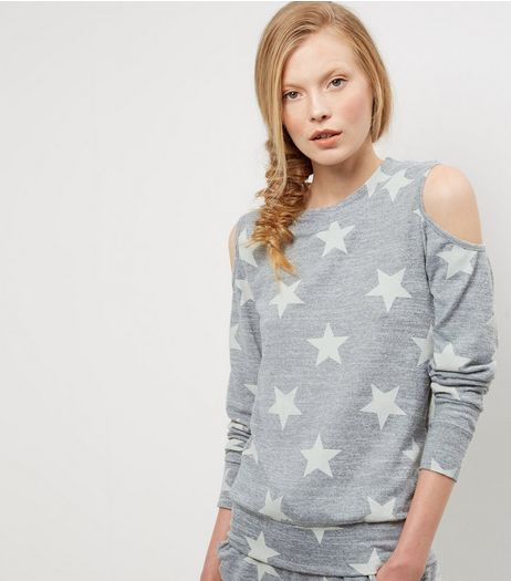 Grey Star Print Cold Shoulder Sweater  | New Look