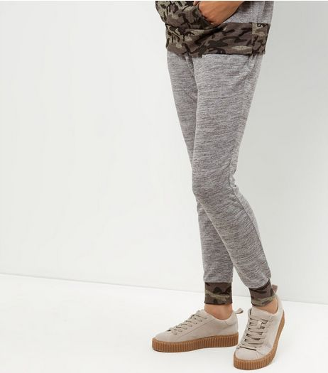 Grey Camo Print Trim Joggers  | New Look