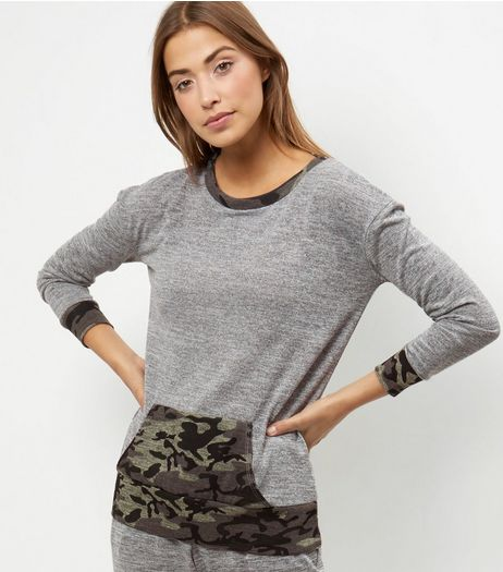 Grey Camo Print Trim Front Pocket Sweater  | New Look