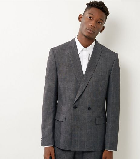Light Grey Check Slim Fit Double Breasted Suit Jacket | New Look