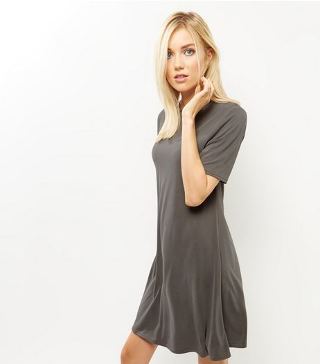 Khaki Funnel Neck Swing Dress | New Look