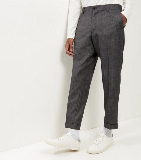 Light Grey Check Cropped Suit Trousers | New Look