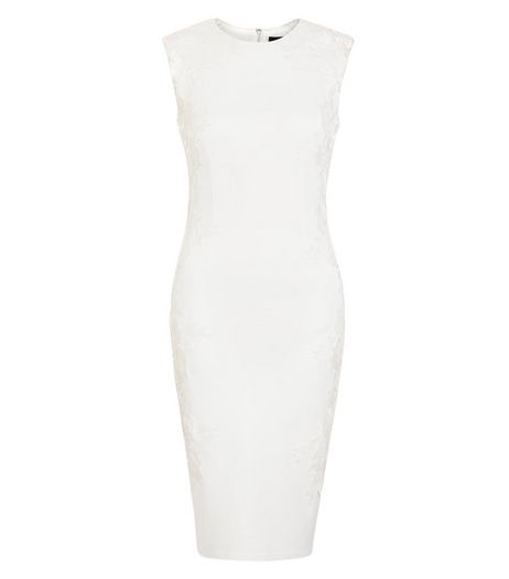 AX Paris White Crochet Lace Panel Midi Dress | New Look