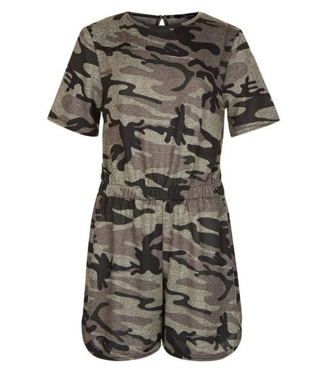 Teens Khaki Camo Print Playsuit | New Look