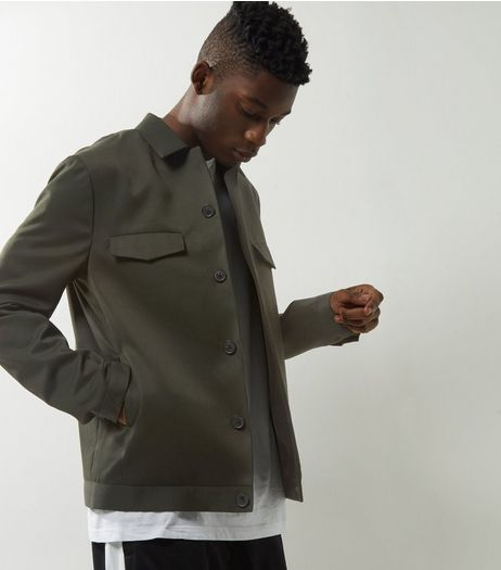 Dark Green Button Front Jacket  | New Look