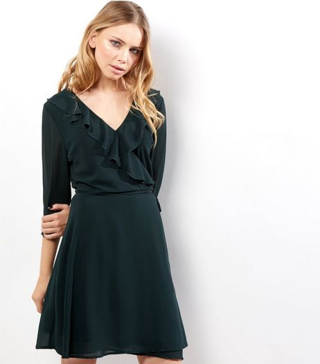 Dark Green Frill Trim Wrap Front Long Sleeve Dress | New Look