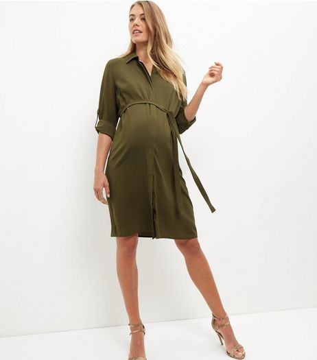 Maternity Khaki Tie Waist Shirt Dress  | New Look