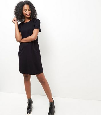 black-double-pocket-tunic-dress