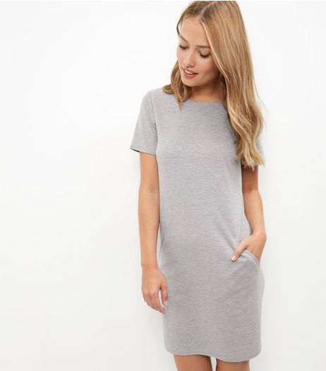 Grey Double Pocket Tunic Dress  | New Look