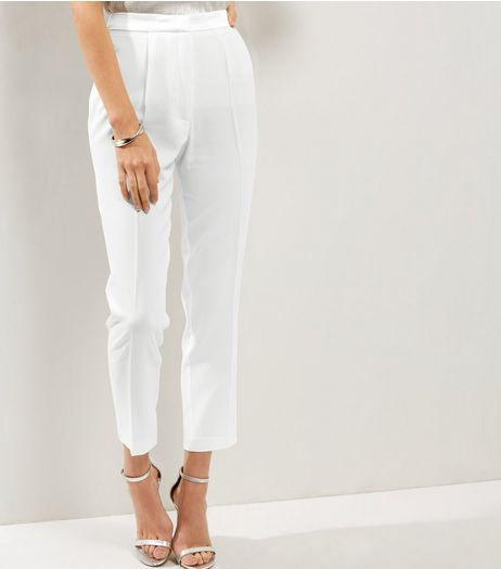 White Sateen Waist Tuxedo Trousers | New Look