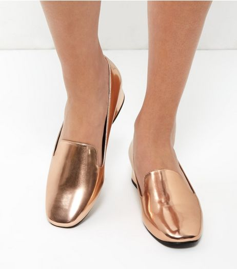 Rose Gold Metallic Slipper Shoes | New Look