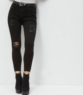 Petite Black Ripped Skinny Jeans