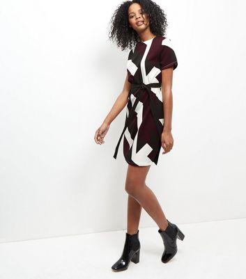 burgundy-geo-print-belted-tunic-dress