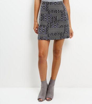 Blue Abstract Print Jacquard Texture A-Line Skirt