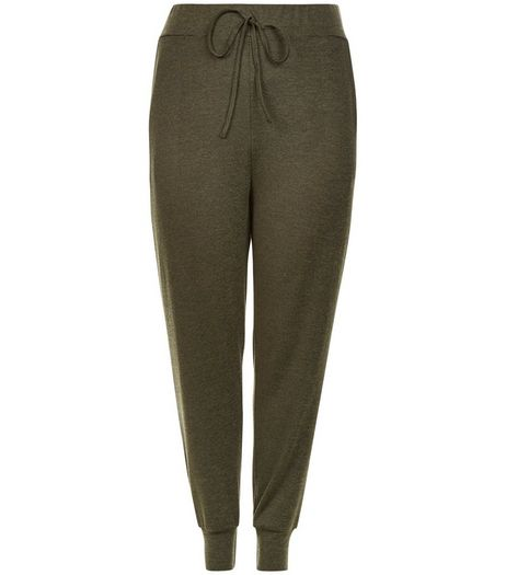 Curves Khaki Fine Knit Joggers  | New Look