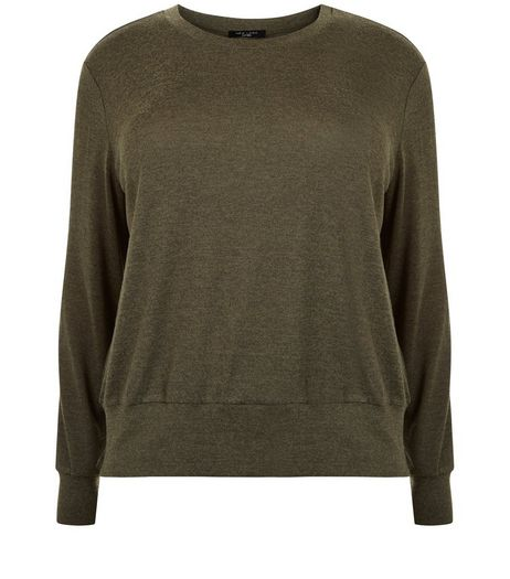 Curves Khaki Fine Knit Top  | New Look