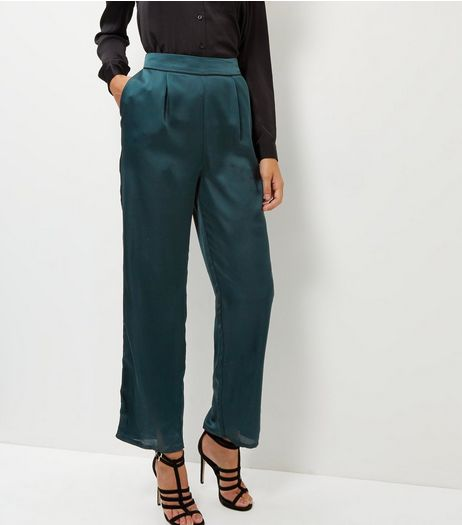 Dark Green Sateen Trousers | New Look