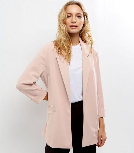 Shell Pink Crepe Scuba Blazer  | New Look