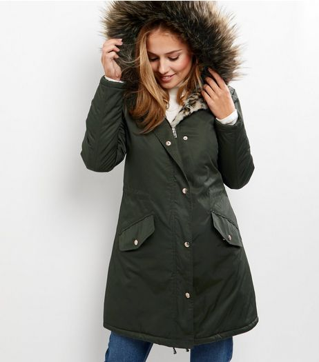 Khaki Faux Fur Animal Print Lined Parka  | New Look