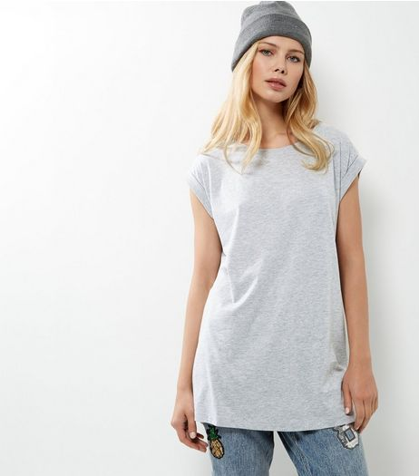Tall Grey Roll Sleeve Boyfriend T-Shirt  | New Look