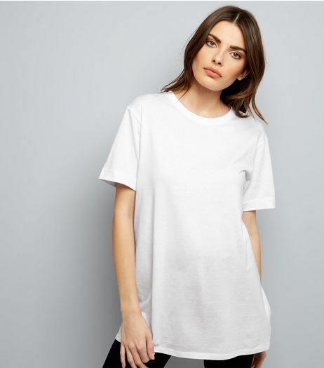 Tall White Rolled Sleeve Boyfriend T-shirt | New Look