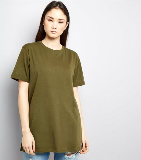 Tall Khaki Rolled Sleeve Boyfriend T-shirt | New Look