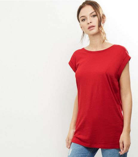 Tall Red Rolled Sleeve Boyfriend T-shirt | New Look