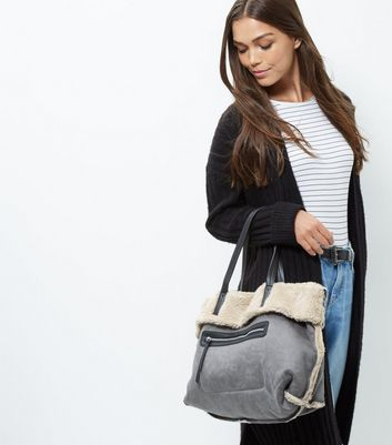 Grey Shearling Tote Bag