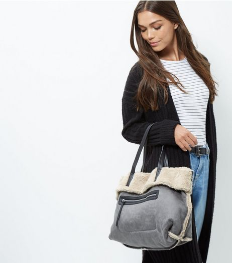 Grey Shearling Tote Bag | New Look